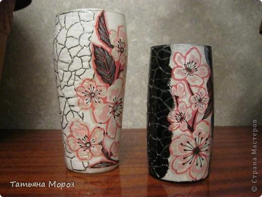 """А это вазочки из двух пивных стаканов, я назвала их """"День и ночь"""""""