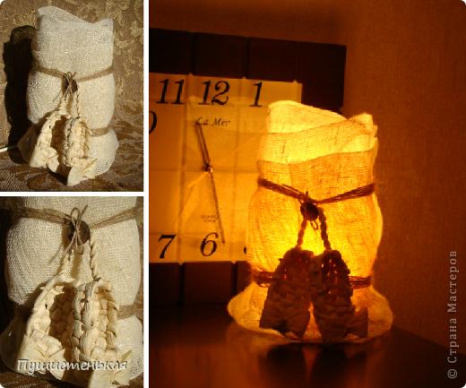 Срочно потребовалась лампа-ночник...делала из подручных материалов... мешковина, пенька, кокосовая пуговица и привезенные из Киева, лапти.