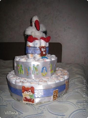 Этот тортик сделан моей подруге по случаю рождения сына)))) фото 1