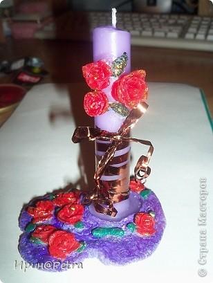 Моя первая работа из холодного фарфора. А еще декорирование свечки.