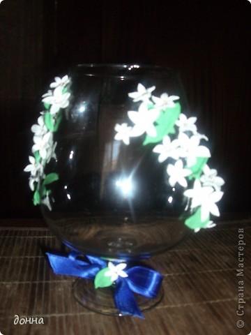 Приветствую всех мастериц! Очень хотелось поделиться умением украсить большой бокал для подарка.Это моя первая работа в этом направлении... фото 7