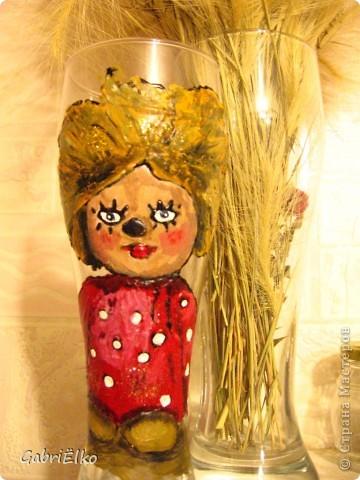 Баночка из под кабачковой икры интересной формы, не смогла ее не расписать)))))) фото 3