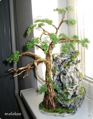"""Подарок на юбилей мужчине 45 лет. дерево-ночник. высота 40 см. верхняя часть """"скалы"""" снимается. фото 2"""