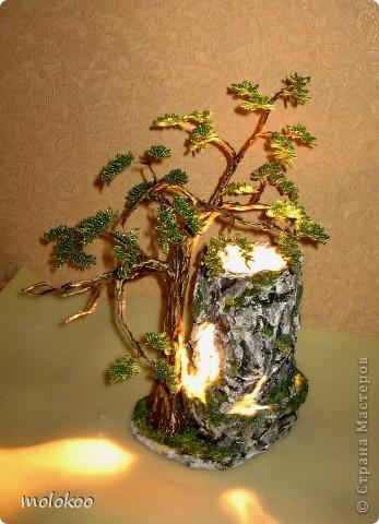 """Подарок на юбилей мужчине 45 лет. дерево-ночник. высота 40 см. верхняя часть """"скалы"""" снимается. фото 6"""