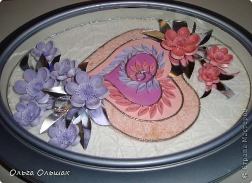 """Дорогие мастерицы! Вот такая """"сердечная"""" композиция в розово-фиолетовых тонах получилась на этот раз. фото 5"""