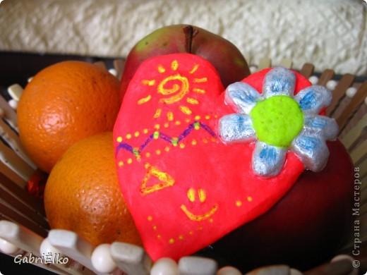 Сердечко Валентинка)))))соленое тесто раскрашено акриловыми красками фото 1
