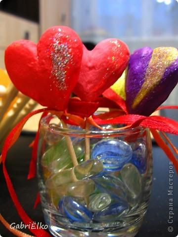 Сердечко Валентинка)))))соленое тесто раскрашено акриловыми красками фото 4