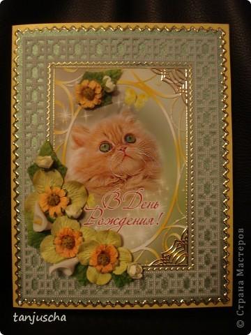 Давно не делала открыток прям уже соскучилась. Рамка этой открыточки сделана в технике пергамано. Картинка эта была готовая открытка я её отпечатала на фотобумаге.Украшена искуственными цветочками и стикерами. фото 3