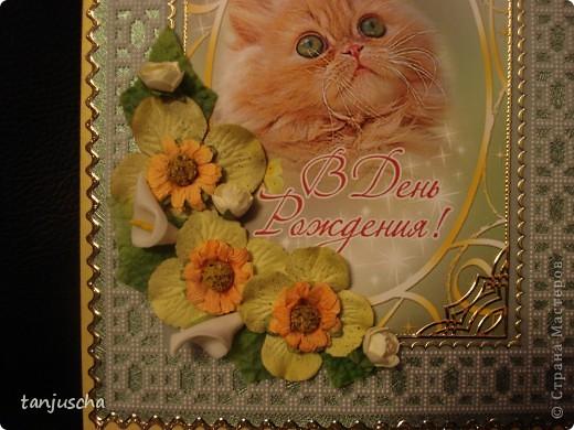 Давно не делала открыток прям уже соскучилась. Рамка этой открыточки сделана в технике пергамано. Картинка эта была готовая открытка я её отпечатала на фотобумаге.Украшена искуственными цветочками и стикерами. фото 2