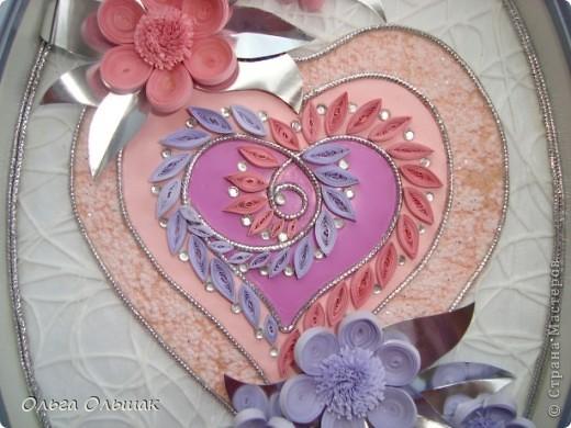 """Дорогие мастерицы! Вот такая """"сердечная"""" композиция в розово-фиолетовых тонах получилась на этот раз. фото 3"""