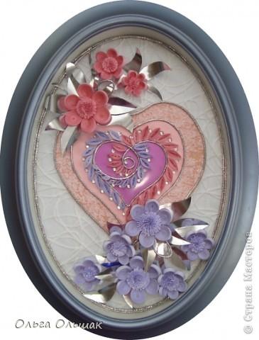 """Дорогие мастерицы! Вот такая """"сердечная"""" композиция в розово-фиолетовых тонах получилась на этот раз. фото 1"""