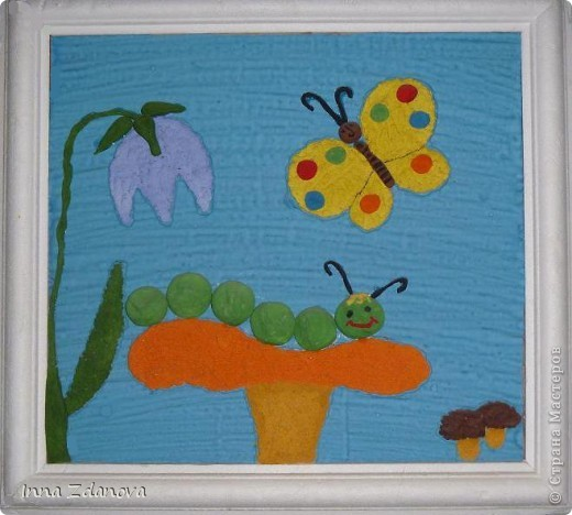 """""""На грибке"""" (жидкая соль), (работа, выполненная с детьми детского сада)."""