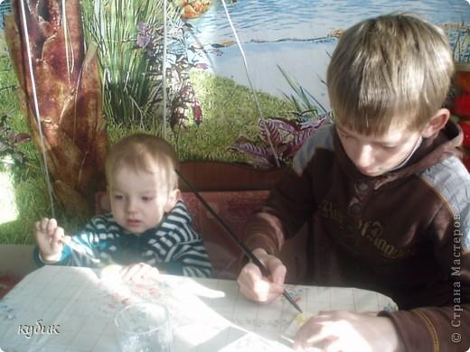Сегодня мы мастерили из гипса, Игнаша очень заболел, делал пока не было температуры.его любимый друг:)) фото 4