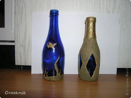 """Проба """"пера""""...манкой училась декорировать бутылочки... фото 1"""