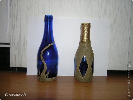 """Проба """"пера""""...манкой училась декорировать бутылочки... фото 2"""