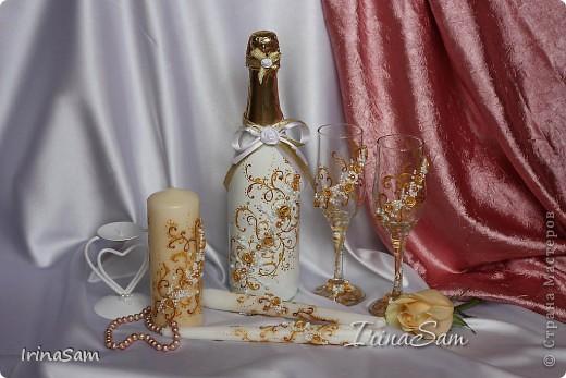 Вот мой дебют в наборах для свадьбы. Захотелось чего-нить такого золотого, использовала два разных по тону золотых контура, вот что получилось.  фото 1