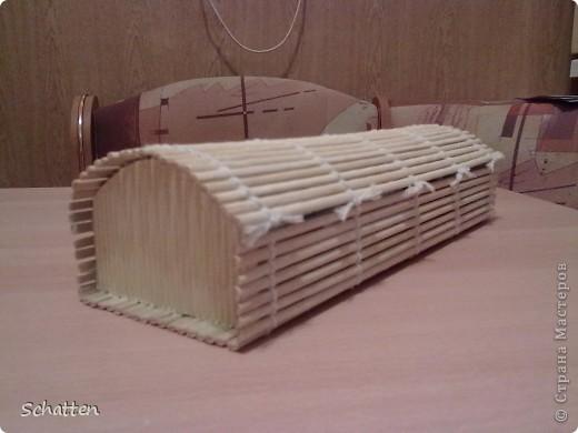 Была бамбуковая салфетка, коротенькая правда, решила попробовать. Поделочка, правда, недекорирована, думаю, как лучше это сделать. фото 2