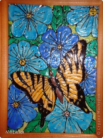 """Вот еще витражик у нас на зимних каникулах """"родился"""". Бабочку срисовали с магнитика на холодильнике, а цветочки хотели сделать красными, но у нас, к сожалению, закончилась красная краска, пришлось """"голубить"""". А потом мы подумали и решили - что все клучшему - на красных цветах бабочка бы потерялась. )))"""