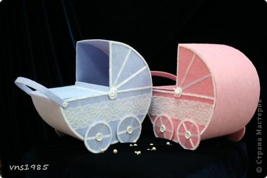 """Свадебные коробочки для денег """"Коляски для мальчика и девочки"""" фото 3"""