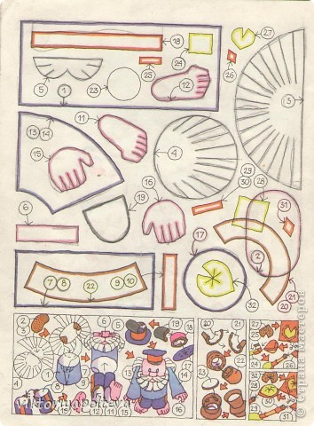 Для работы понадобятся- цветная бумага, ножницы, клей,копировальная бумага.Каждую куклу делаем по порядку номеров ее деталей по схемам..Выкройки деталей переносим на цветную бумагу и собираем куклу. фото 2