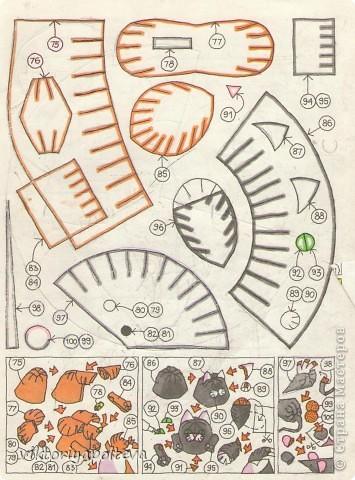 Для работы понадобятся- цветная бумага, ножницы, клей,копировальная бумага.Каждую куклу делаем по порядку номеров ее деталей по схемам..Выкройки деталей переносим на цветную бумагу и собираем куклу. фото 5