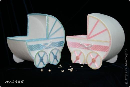 """Свадебные коробочки для денег """"Коляски для мальчика и девочки"""" фото 4"""