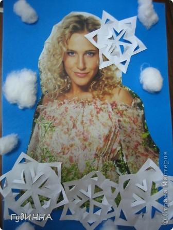 учились вырезать снежинки. чтобы как то разнообразить работу украсили ими красавицу-зимушку. фото 3