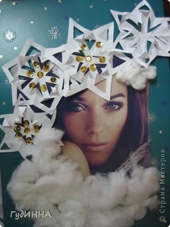 учились вырезать снежинки. чтобы как то разнообразить работу украсили ими красавицу-зимушку. фото 5
