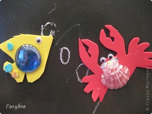 Сегодня мы делали магниты. Жителей водоема, рыбка и краб. фото 3