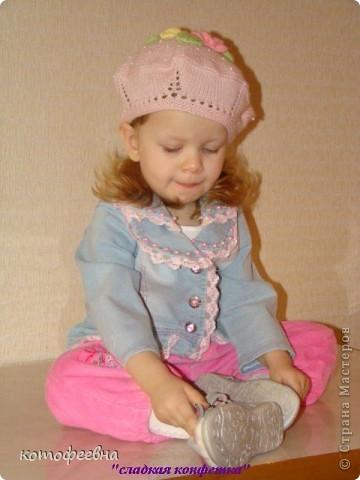 связалась такая береточка для любимой доченьки фото 5