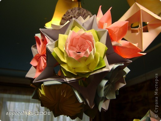 Мини кусудама Aquilegia Flower фото 11