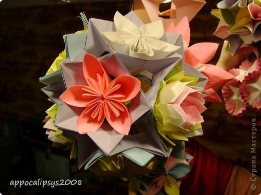 Мини кусудама Aquilegia Flower фото 12