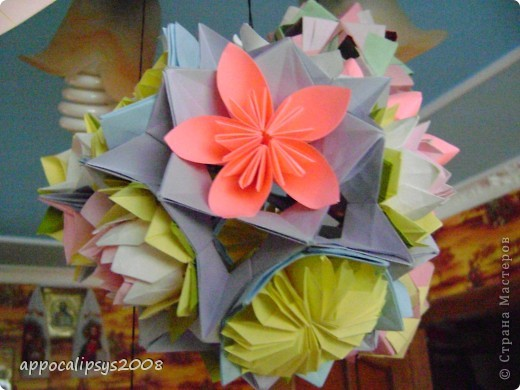 Мини кусудама Aquilegia Flower фото 13