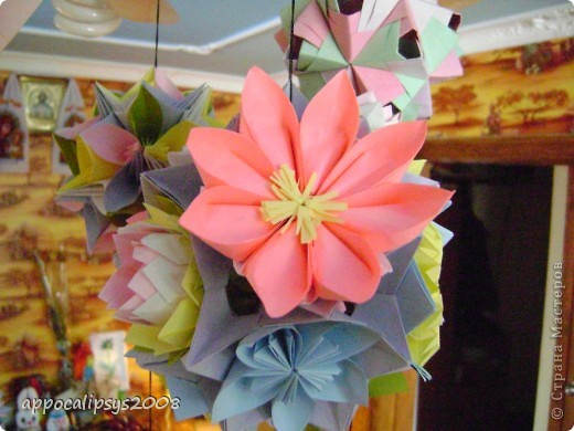 Мини кусудама Aquilegia Flower фото 14