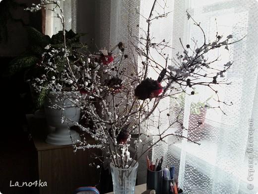 Птички на зимнем  кустике фото 4