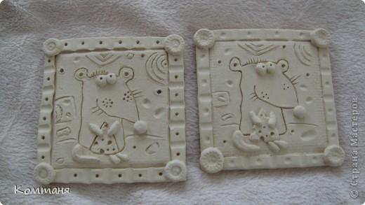 Мышки с сыром и лягушка с цветочком из глины фото 2