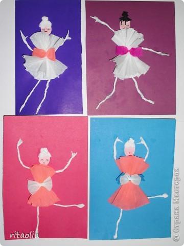"""Вот таких балерин мы с детьми сделали по книге Н.В. Дубровской """"Аппликация из гофрированной бумаги"""" фото 3"""