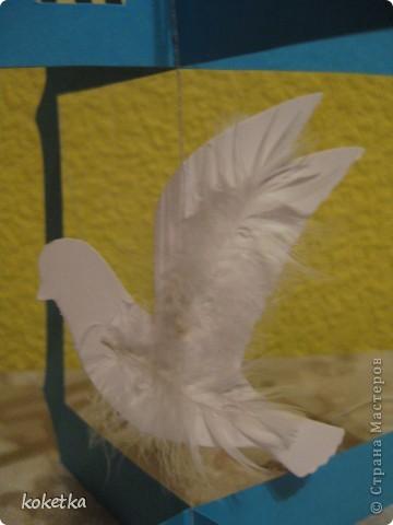 Идейку клеток с птичками нашла в интернете, но так как там не было шаблонов, пришлось  похожие сделать самой. Они были целиком белые, а я сделала цветные, узоры у меня не получались, и пришлось тоже нарисовать и вырезать свои, ну и добавила перышки птичкам. фото 9