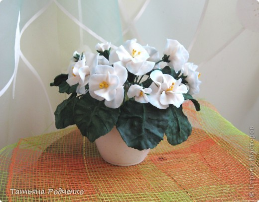 ... опять фиалки))) Попросили слепить именно белые для подарка. фото 6