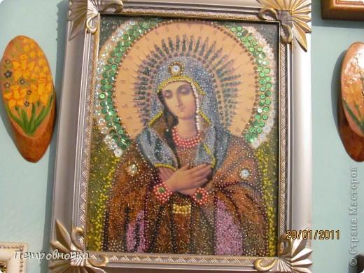Благодаря этим иконам я пришла в храм. Эта икона хранилась у меня со свадьбы дочери лет 9, а потом я решила выложить ее бисером.  фото 1