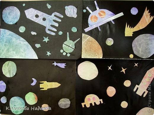 """После """"второго полета"""" решила показать детям способ окрашивания бумаги с помощью пакета. Просто потрясающий эффект! У детей столько радости и восторга было  от полученных результатов! Спасибо Татьяне Николаевне за МК!!! фото 1"""
