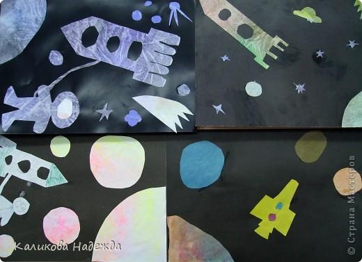 """После """"второго полета"""" решила показать детям способ окрашивания бумаги с помощью пакета. Просто потрясающий эффект! У детей столько радости и восторга было  от полученных результатов! Спасибо Татьяне Николаевне за МК!!! фото 4"""