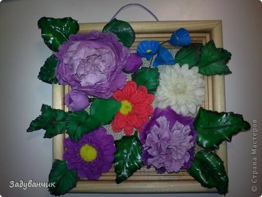 Панно с цветами из пластики и ХФ фото 1