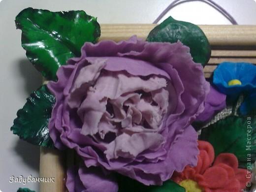 Панно с цветами из пластики и ХФ фото 2
