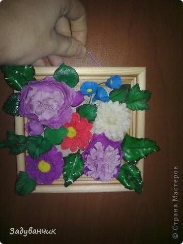 Панно с цветами из пластики и ХФ фото 5