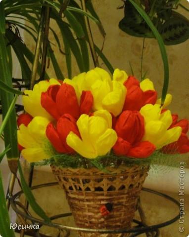 Тюльпаны сделаны сегодня,  по МК Татьяны Просняковой=) Очень яркие получились=)