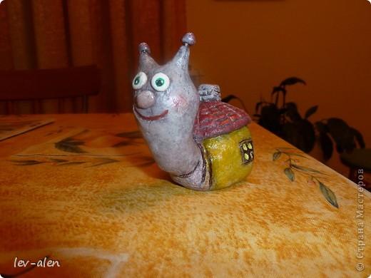 Улитка со своим домиком с черепичной крышей. фото 5