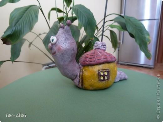 Улитка со своим домиком с черепичной крышей. фото 1