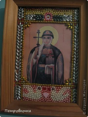 Благодаря этим иконам я пришла в храм. Эта икона хранилась у меня со свадьбы дочери лет 9, а потом я решила выложить ее бисером.  фото 5