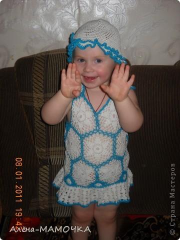 Этот комплект ,я вязала летом.Дочька с большим удовольствием носила его.  фото 3